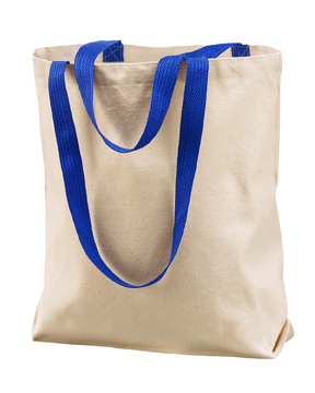 Liberty Bags 8868-Gusseted 10 Ounce Natural Tote with Colored Handle