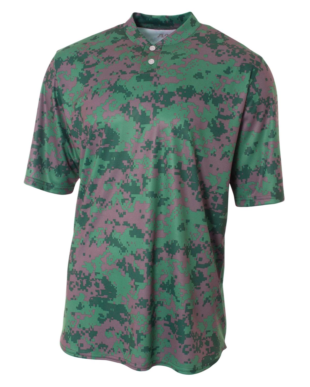 A4 Drop Ship NB3263 - Youth Camo 2-Button Henley Shirt