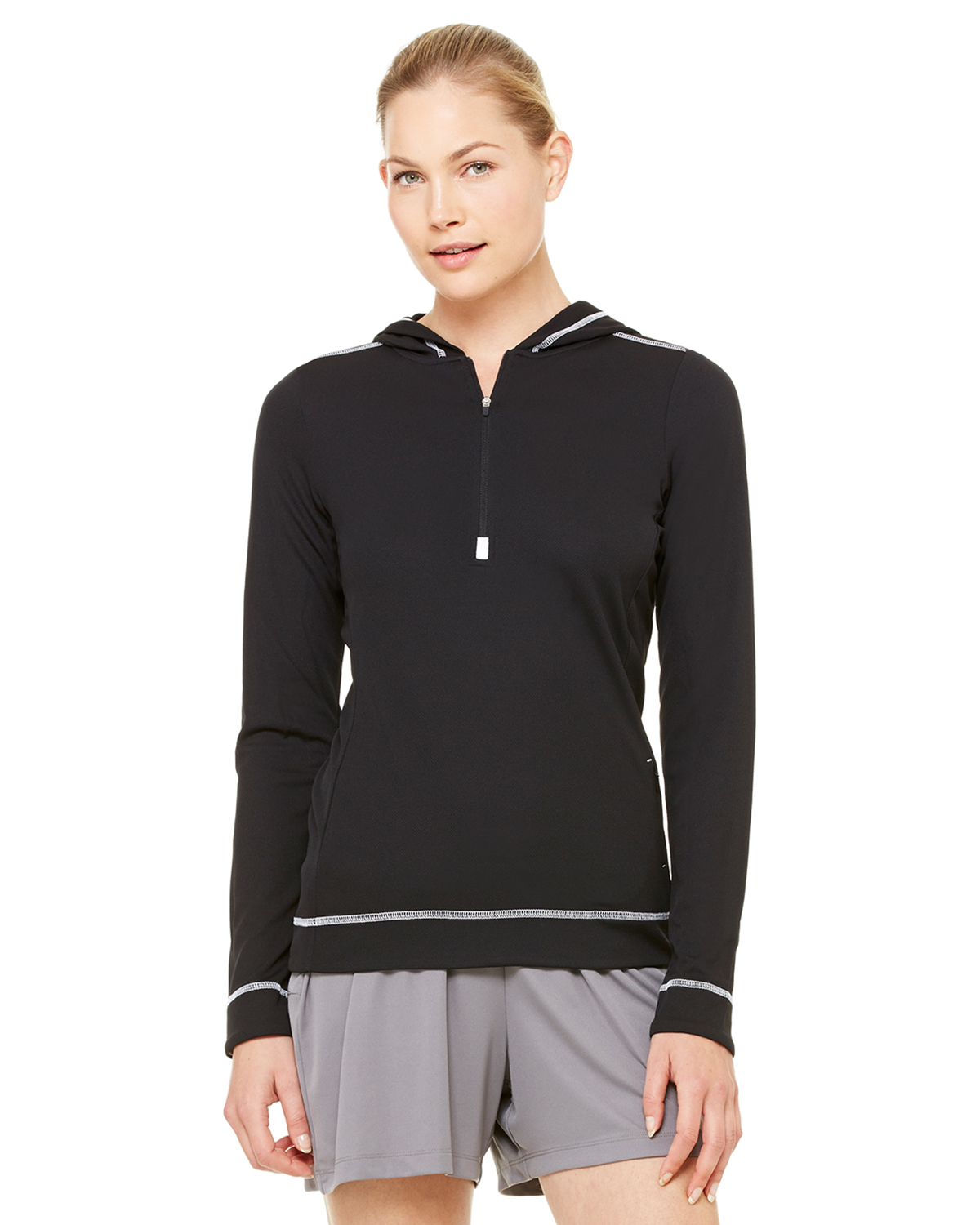 Alo W3002 Ladies' Long Sleeve 1/2 Zip Hooded Pullover