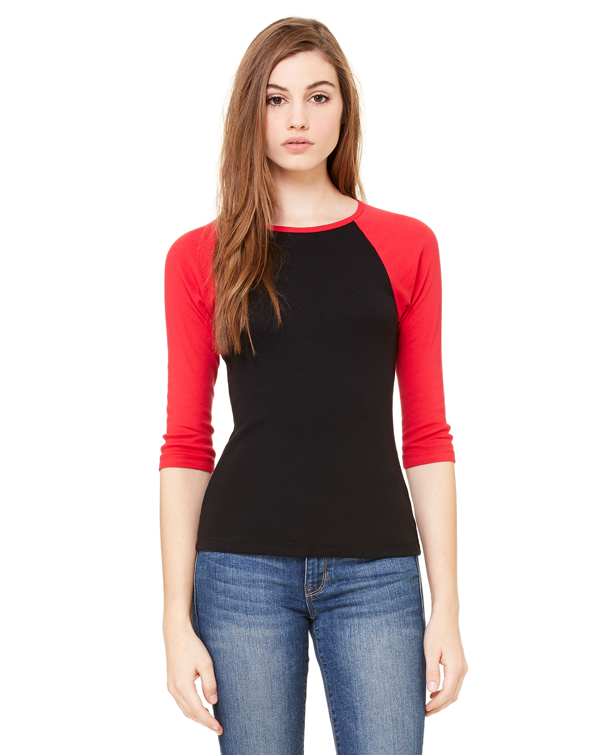 bella 2000 Ladies' 1x1 Rib 3/4 Sleeve Raglan T-Shirt