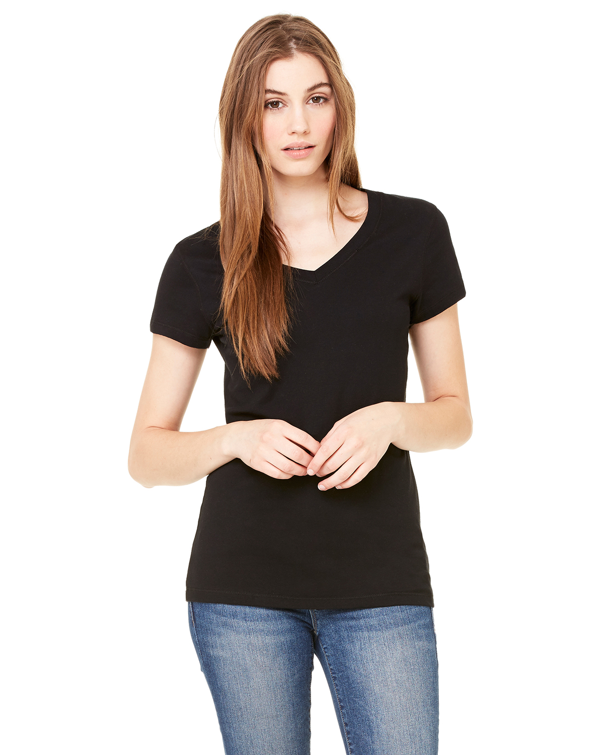 bella 6005 Ladies' Short Sleeve V-Neck T-Shirt