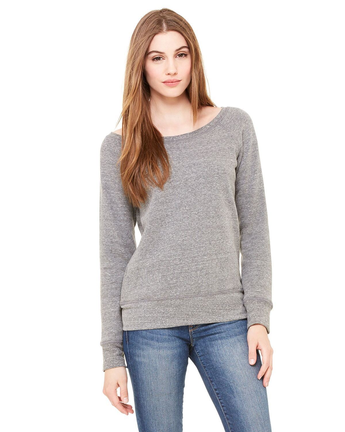 Bella 7501 Ladies 8.2 oz. Triblend Slouchy Wide Neck Fleece