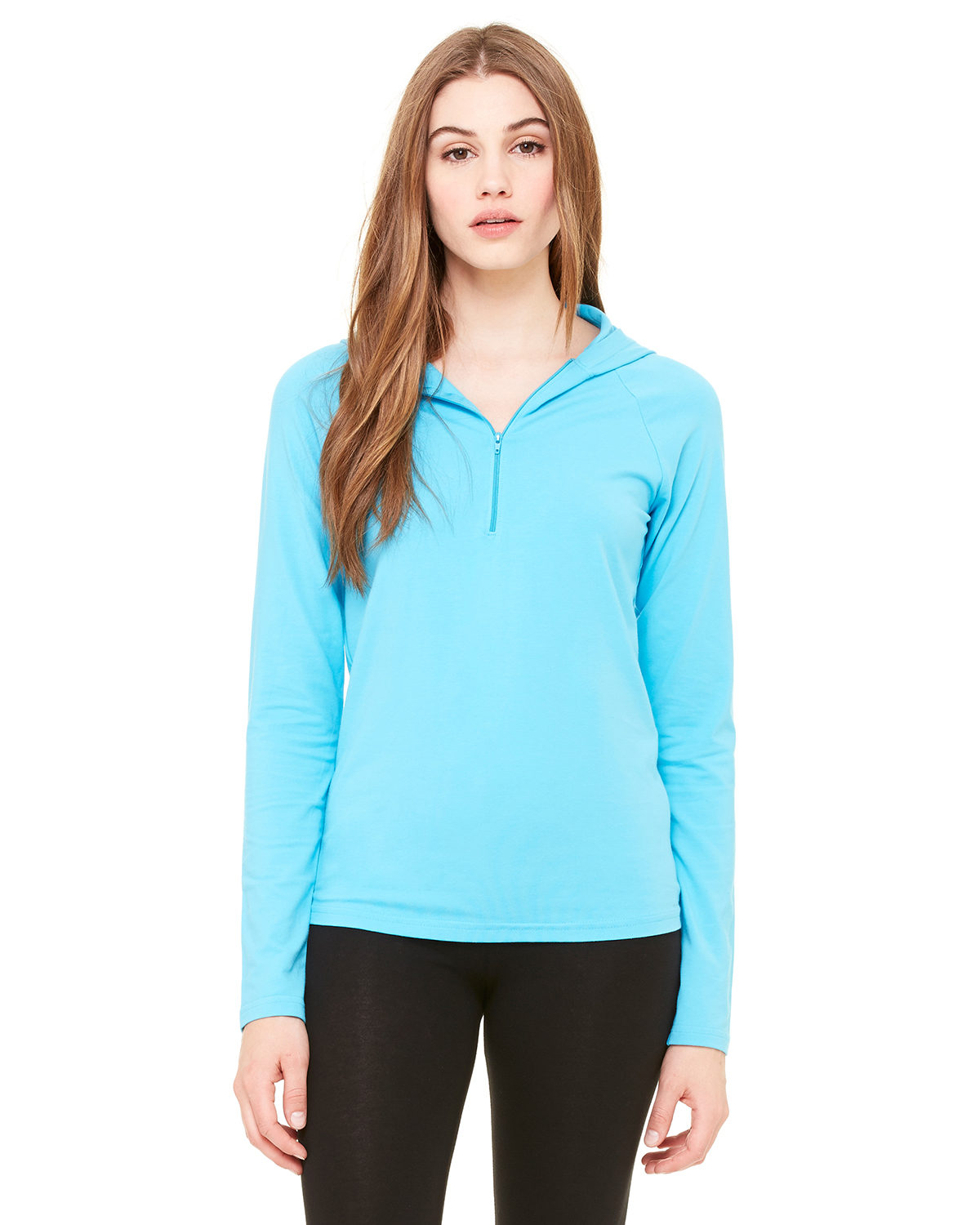 Bella 875  Women's Cotton/Spandex Half Zip Hooded Pullover