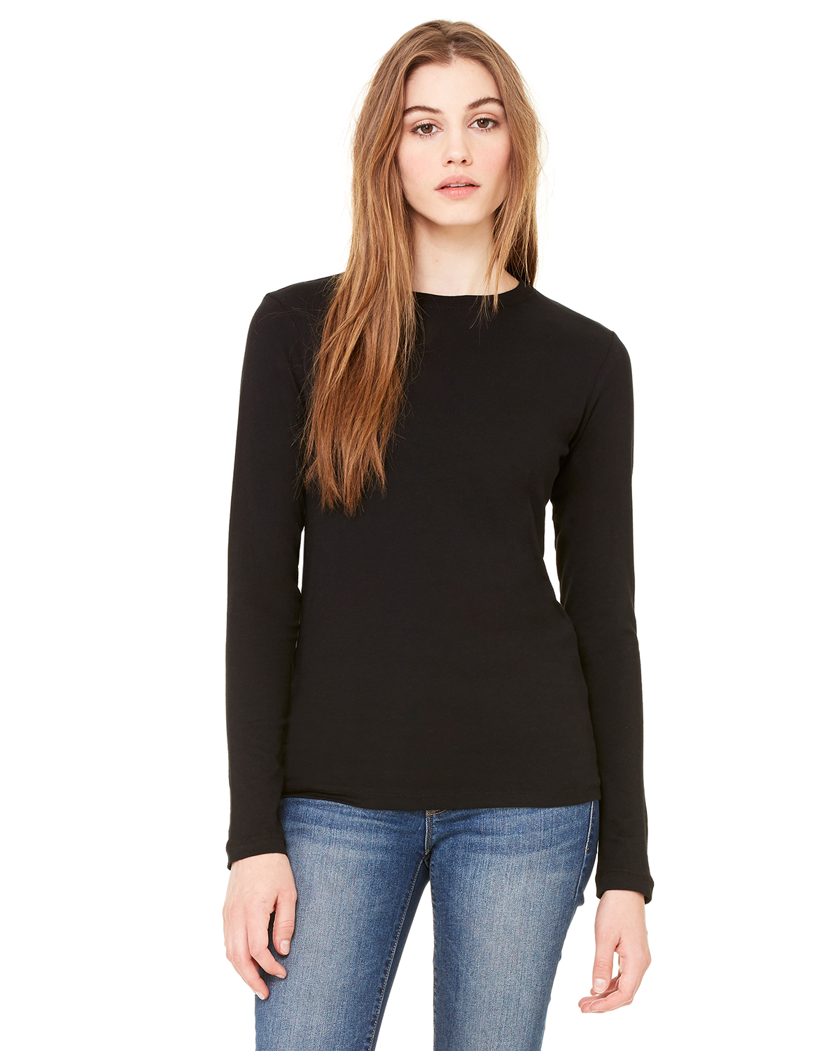 Bella B6500  Women's Long Sleeve Crew-neck Jersey T-...