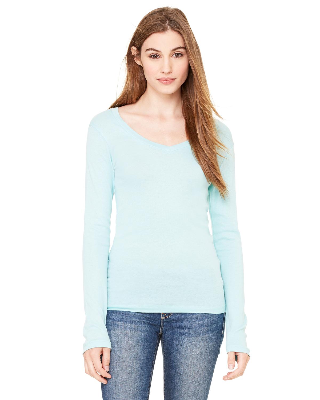 Bella B8750  Women's Sheer Rib Longer Length V-neck T-Shirt