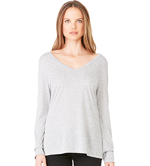 BELLA + CANVAS B8855 - WOMEN'S FLOWY LONG SLEEVE V NECK ...