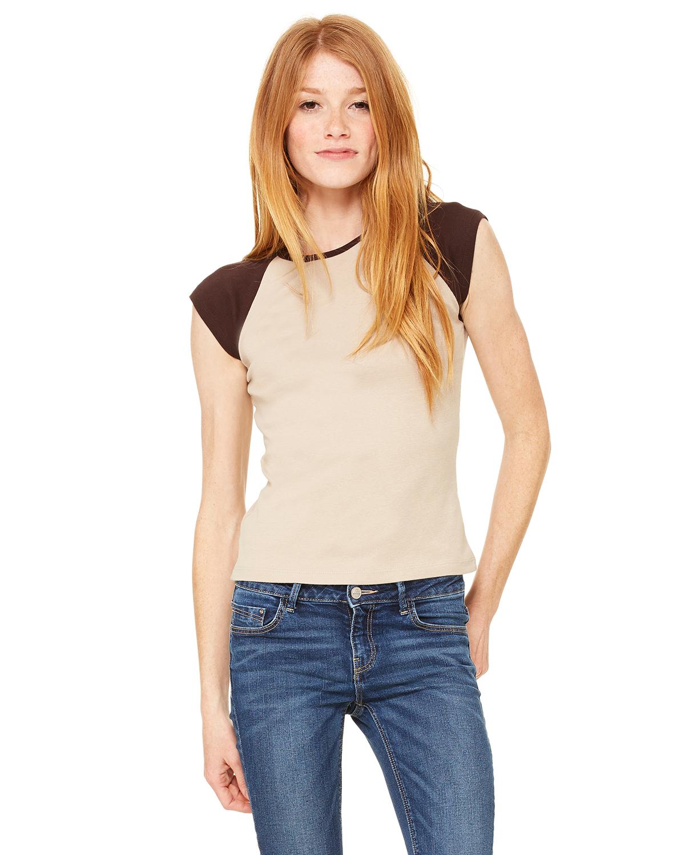 Bella BEL2020  Women's Baby Rib Contrast Cap-Sleeve Raglan T-Shirt