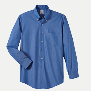 """Brooks Brothers BR620937 346 Slim Fit No-Iron Pinpoint Dress Shirt - 36/37"""" Sleeve"""