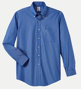 "Brooks Brothers BR621033 346 Regular Fit No-Iron Pinpoint Dress Shirt - 32/33"" Sleeve"