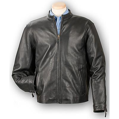 Burk's Bay BB908 - Men's Cowhide Leather Casual Full-Zip Jacket