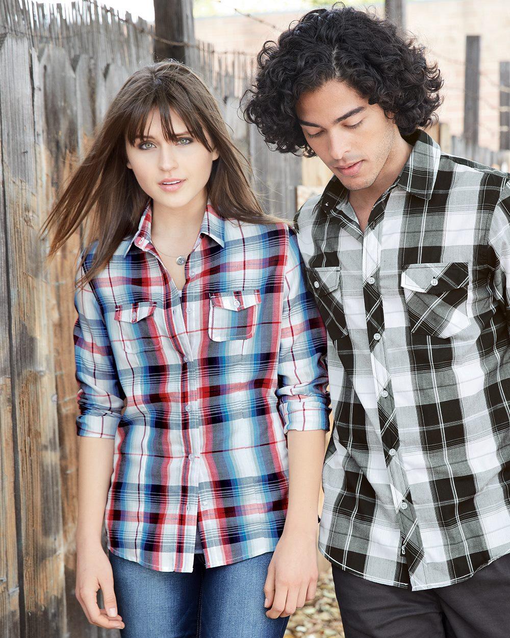 Burnside B5222 - Women's Long Sleeve Plaid Shirt