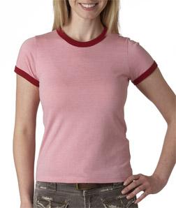 Canvas 6050 - Ladies' Heather Jersey Short-Sleeve Ringer Tee