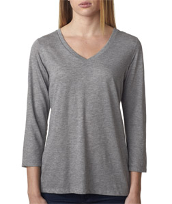 Canvas 6425 - Missy 3/4-Sleeve V-Neck Tee