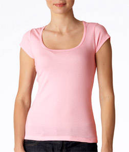 Canvas 8703 - Ladies' Sheer Mini-Rib Short-Sleeve Scoop-Neck Tee