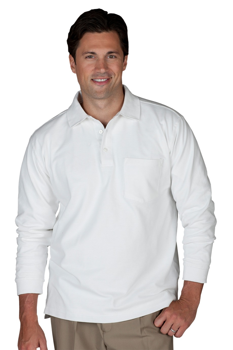Edwards Garment 1525 - Unisex Long Sleeve Pique Polo with Pockets