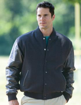 Enza 48079 - Wool Varsity Jacket with Leather Sleeves