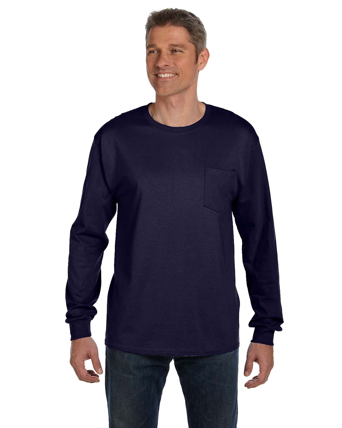 Hanes 5596  Tagless 6.1 oz. Long Sleeve T-Shirt w/ a Pocket