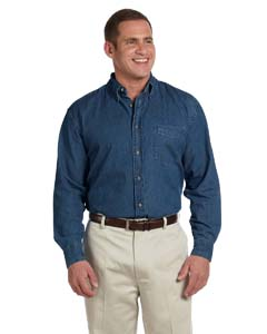 Harriton M550T - Men's Tall Long Sleeve Denim Shirt