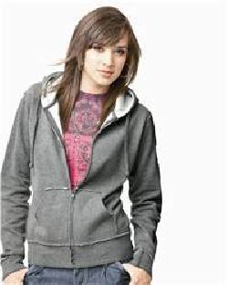 Independent Trading Co. PRM25RAWZ Juniors' Raw Edge Full-Zip Hooded Sweatshirt
