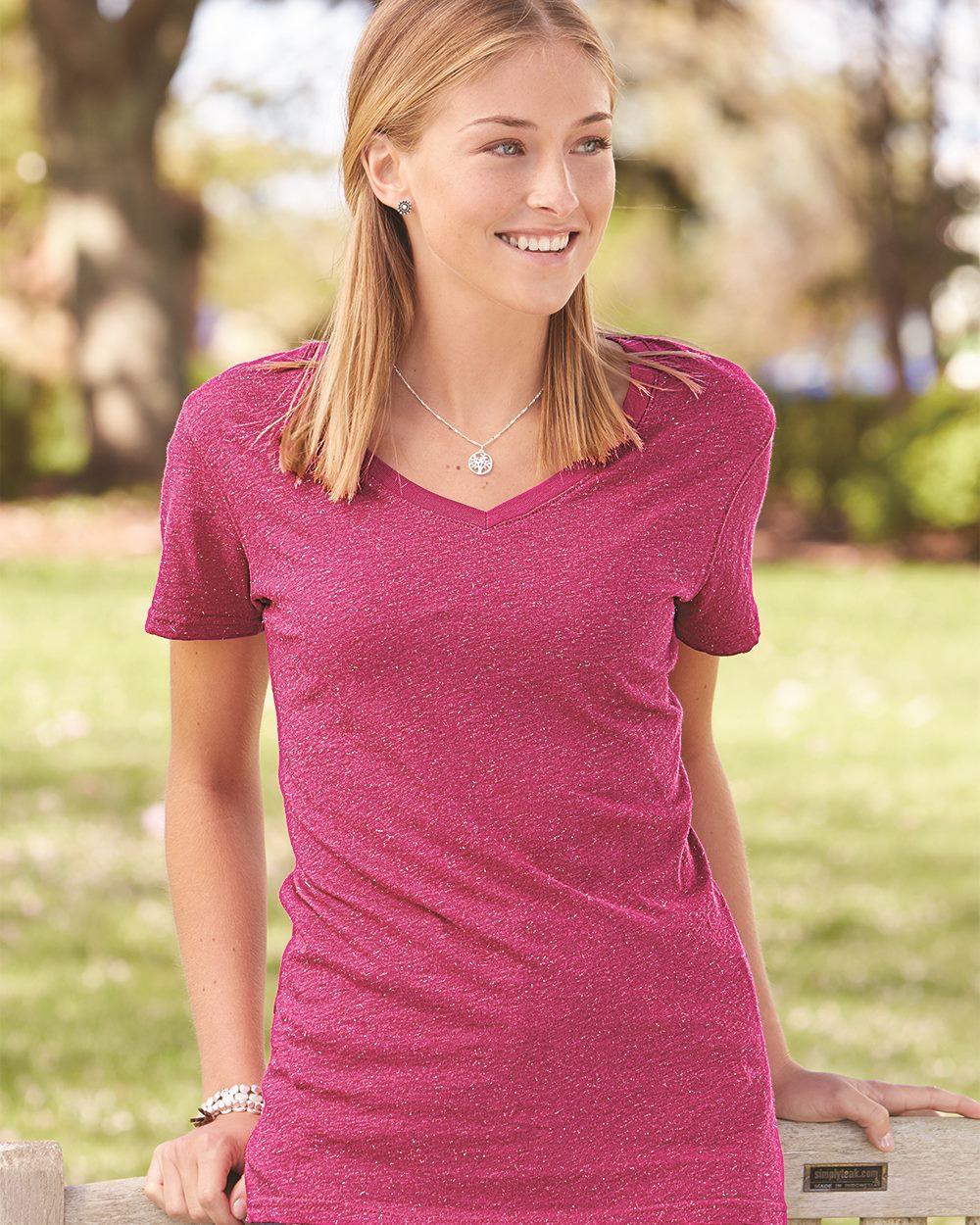 J. America 8136 - Women's Glitter V-Neck T-Shirt
