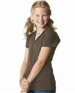 L.A.T Sportswear 2609 Girls' Fine Jersey Longer Length Short Sleeve V-Neck Hooded T-Shirt