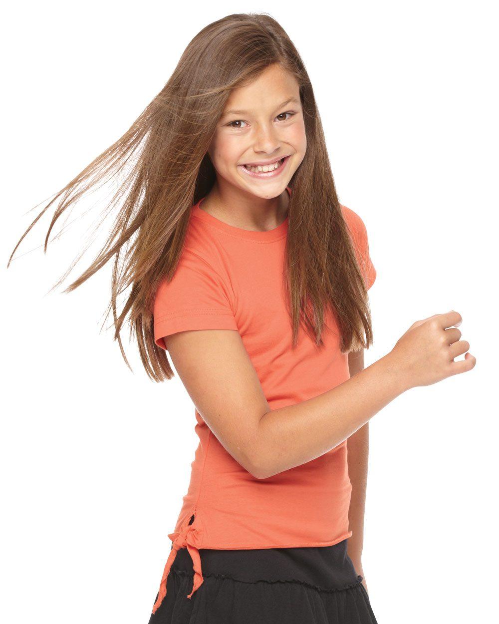LAT 2625 - Girls' Fine Jersey Side-Tie T-Shirt