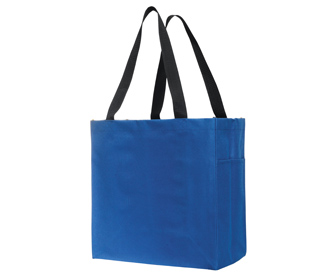 """Polyester solid color carry-all tote bags, 14""""H x 13 1/2""""W x 6 1/2""""D"""