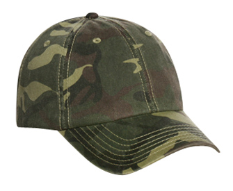 Camouflage garment washed cotton twill low profile pro style caps