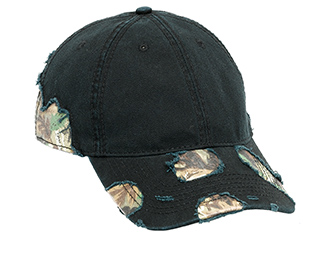 Camouflage distressed superior garment washed cotton twill two tone color six panel low profile pro style caps