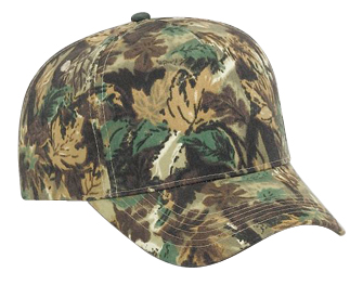 Camouflage brushed cotton twill five panel pro style cap