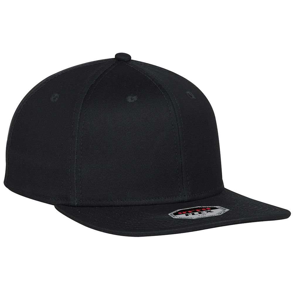 "Ottocap 13-1158 STRETCHABLE SUPERIOR COTTON TWILL SQUARE FLAT VISOR ""OTTO FLEX"" SIX PANEL PRO STYLE BASEBALL CAP"