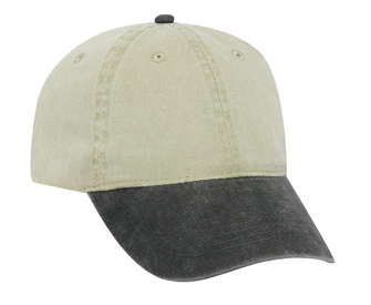 Washed pigment dyed cotton twill solid and two tone color six panel low profile pro style caps