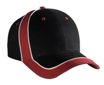 Piping design brushed cotton twill two tone color six panel low profile pro style cap