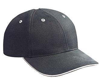 Brushed bull denim sandwich visor solid color six panel low profile pro style caps
