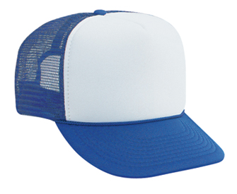 Polyester foam front two tone color five panel high crown golf style mesh back caps