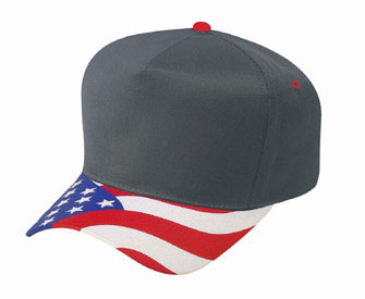 United States flag visor cotton twill two tone color five panel low crown golf style cap