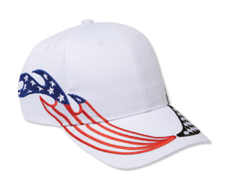 United States flag racing flame pattern brushed cotton twill two tone color six panel low profile pro style cap