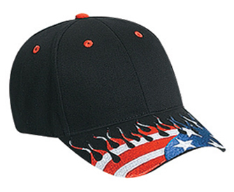 United States flag flame pattern visor brushed cotton twill two tone color six panel low profile pro style caps