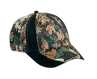 Camouflage piping design cotton twill two tone color six panel low profile pro style caps