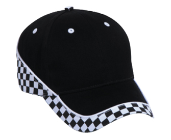 Racing pattern brushed cotton twill two tone color six panel low profile pro style cap