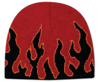 Flame design acrylic knit two tone color beanies, 8""