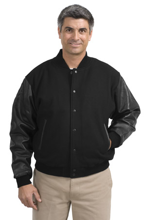 Port Authority® J783 Wool and Leather Letterman Jacket