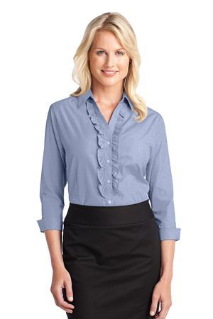 Port Authority® L644 Ladies Crosshatch Ruffle Easy Care Shirt