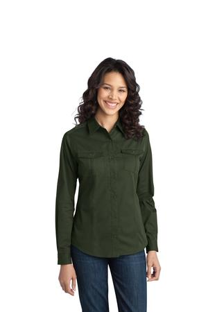 Port Authority® L649 Ladies Stain-Resistant Roll Sleeve Twill Shirt