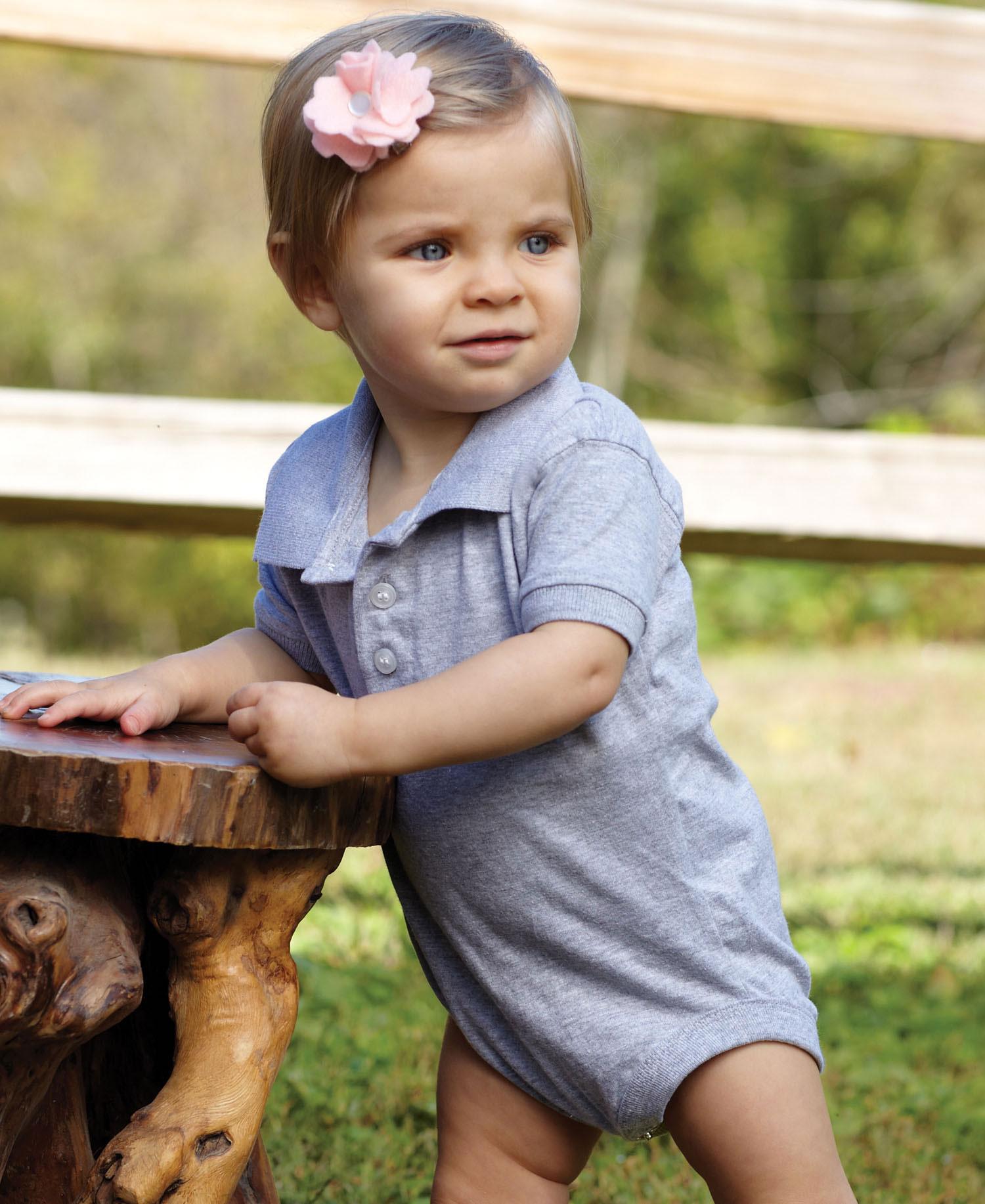 Rabbit Skins 4601 Infant Platinum Golf Shirt Creeper