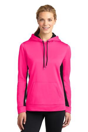 Sport-Tek LST235 Ladies Sport-Wick Fleece Colorblock Hooded Pullover