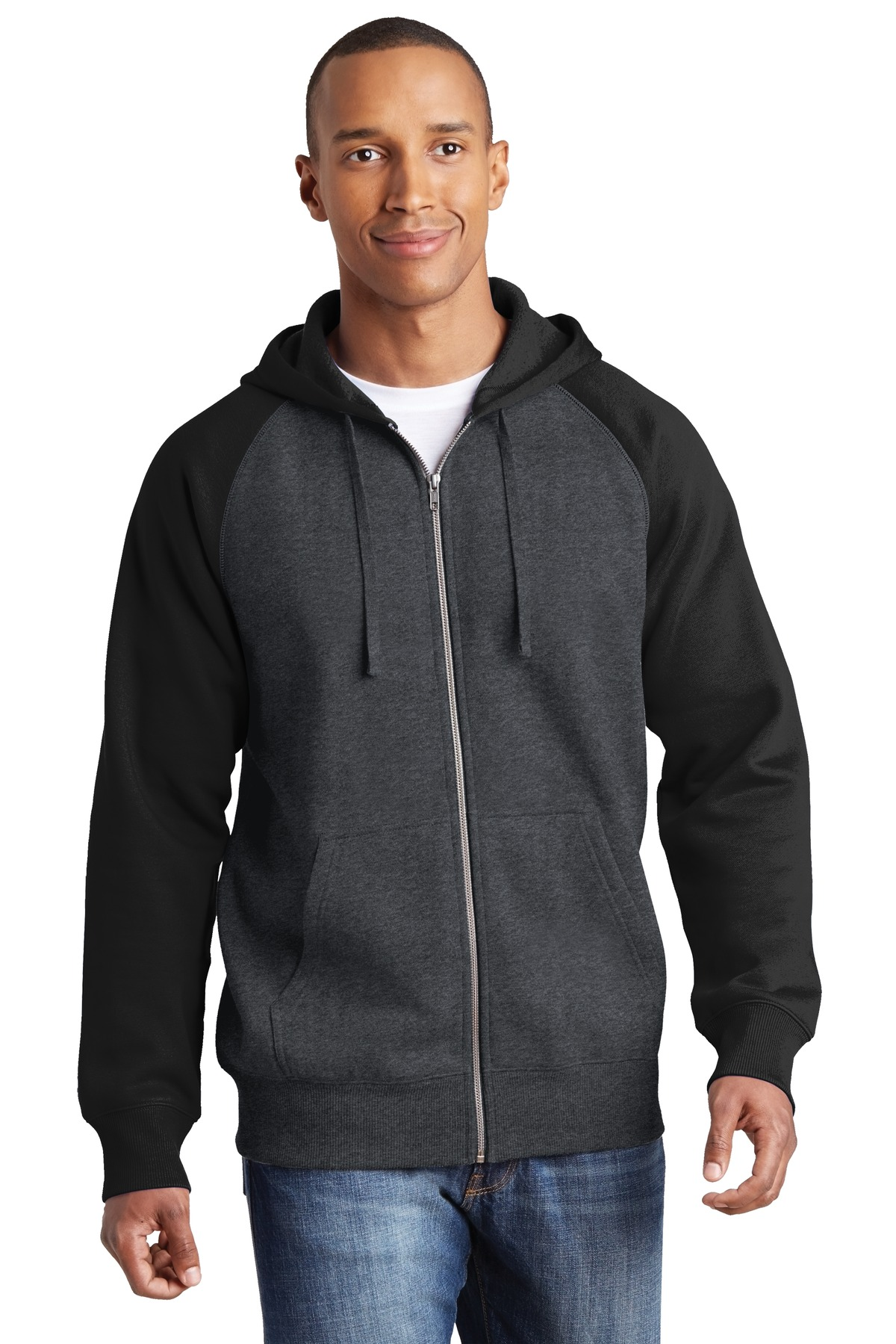 Sport-Tek  ST269 - Raglan Colorblock Full-Zip Hooded Fleece Jacket