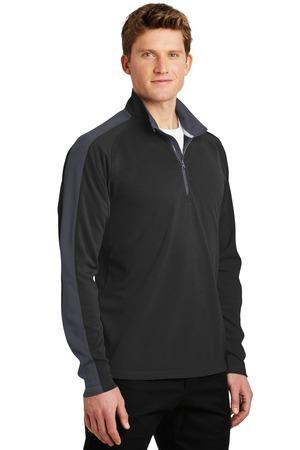 Sport-Tek® ST861-Sport-Wick® Textured Colorblock Quarter Zip Pullover