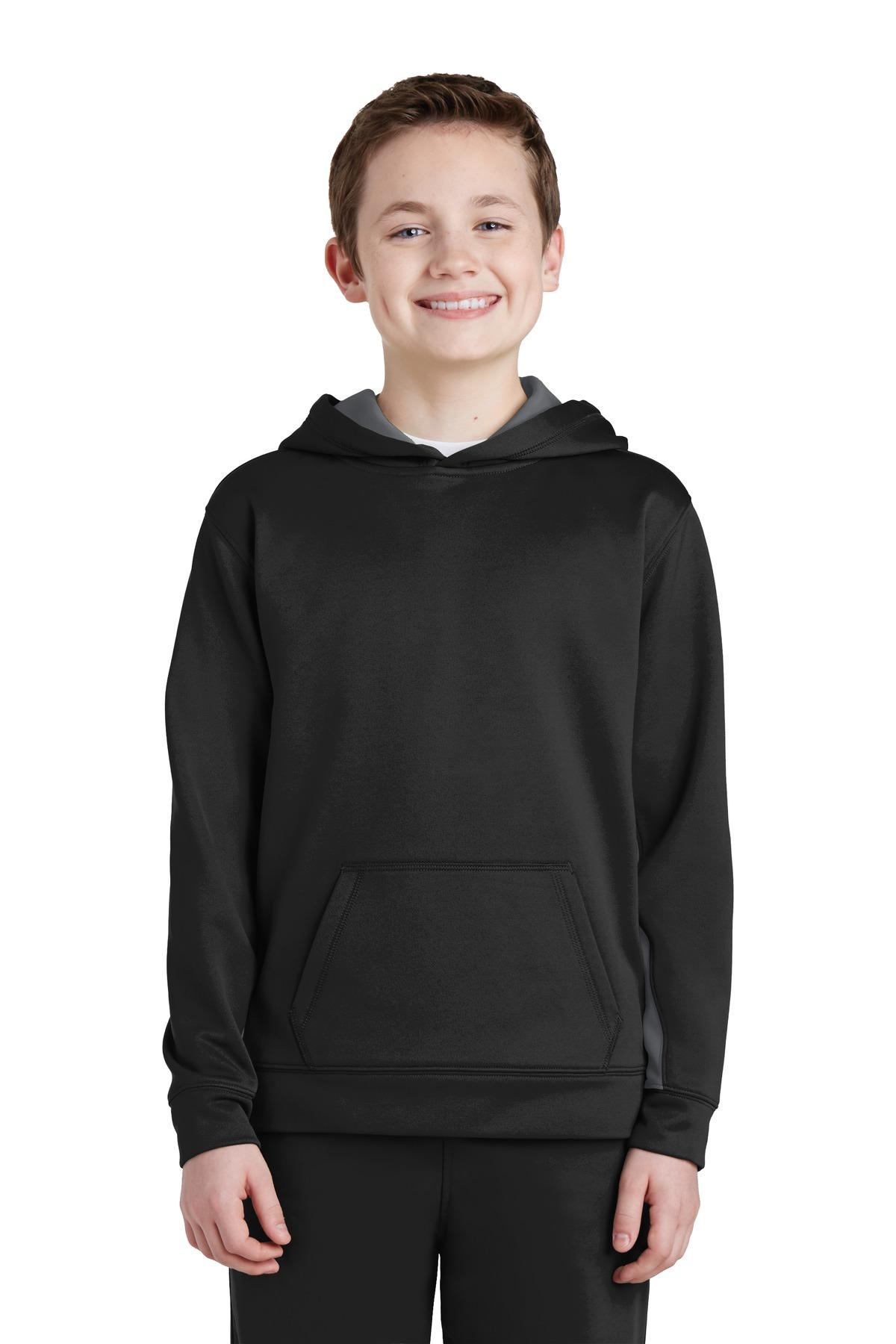 Sport-Tek  YST235 - Youth Sport-Wick; Fleece Colorblock Hooded Pullover