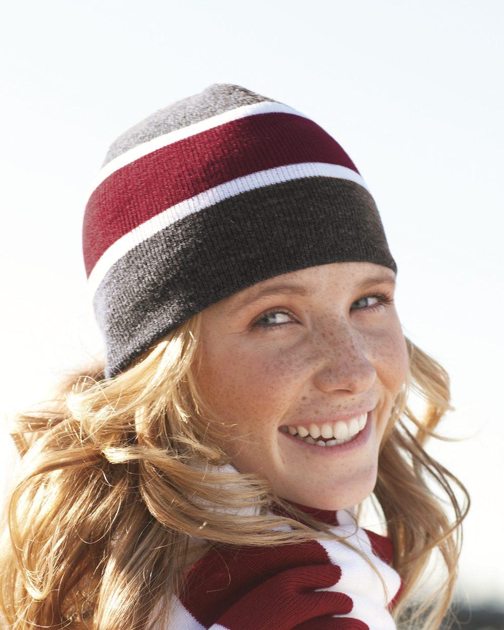 Sportsman Cap SP06 Striped Knit Beanie